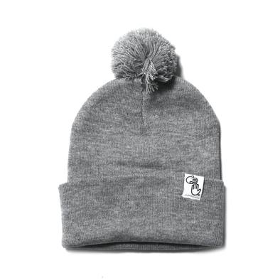 Pom Beanie (Light Heather Grey)