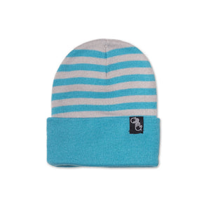 Striped Knit Beanie (Grey and Blue)