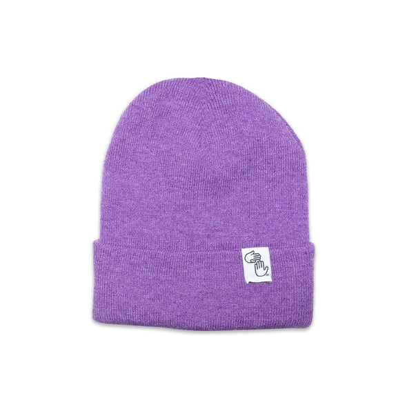 Knit Beanie (Heather Purple)