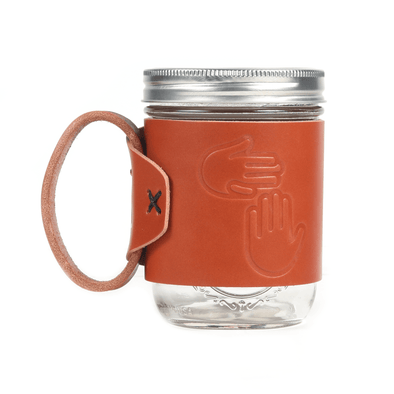 Leather Handled Mason Jar Sleeve
