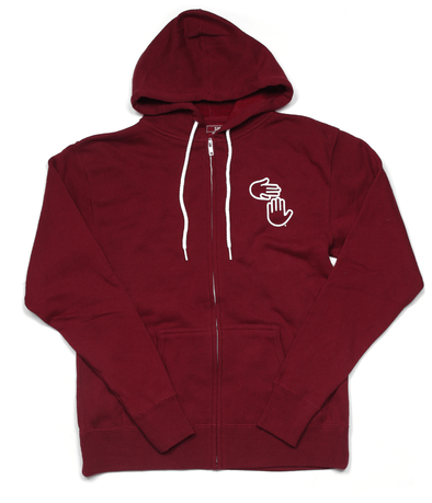 Michigan Hands Zip Hoodie (Deep Red)