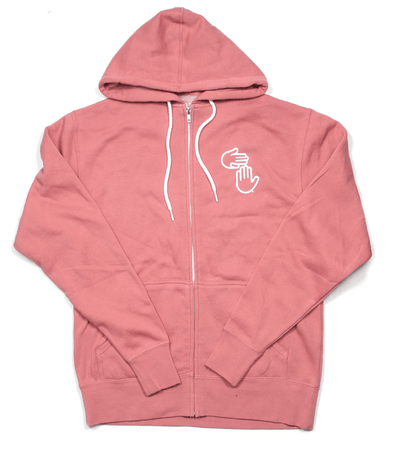 Michigan Hands Zip Hoodie (Dusty Rose)