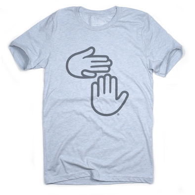 Michigan Hands Tee (Heather Light Blue)