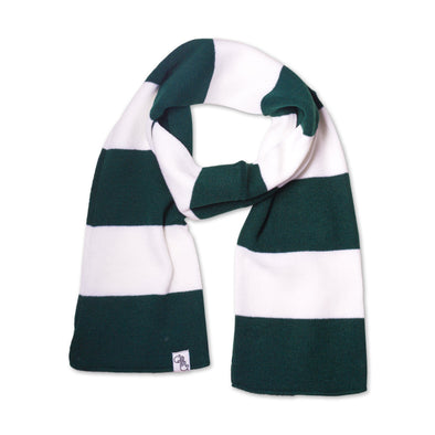 Striped Knit Scarf (Green & White)