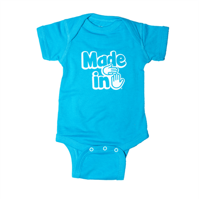 Made in Michigan Onesie (Lake Blue)