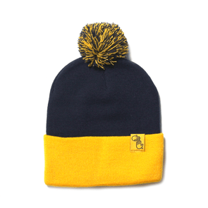 Pom Beanie (Navy and Gold)