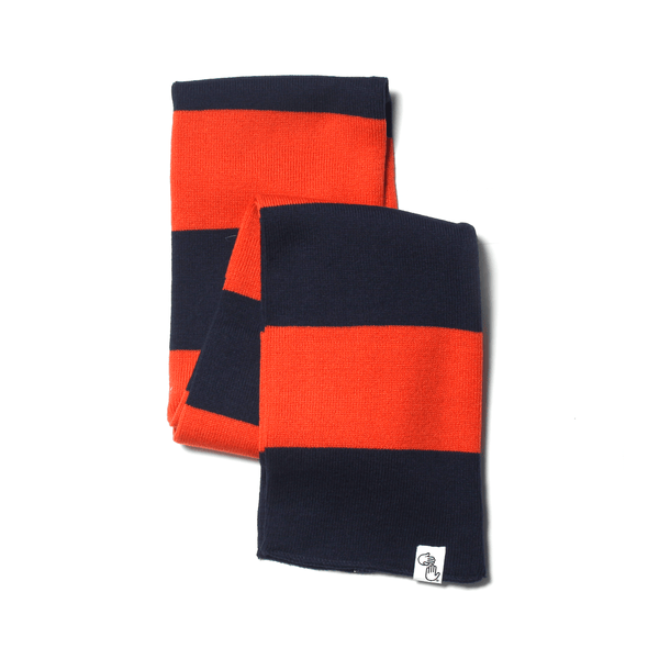 Striped Knit Scarf (Navy & Orange)