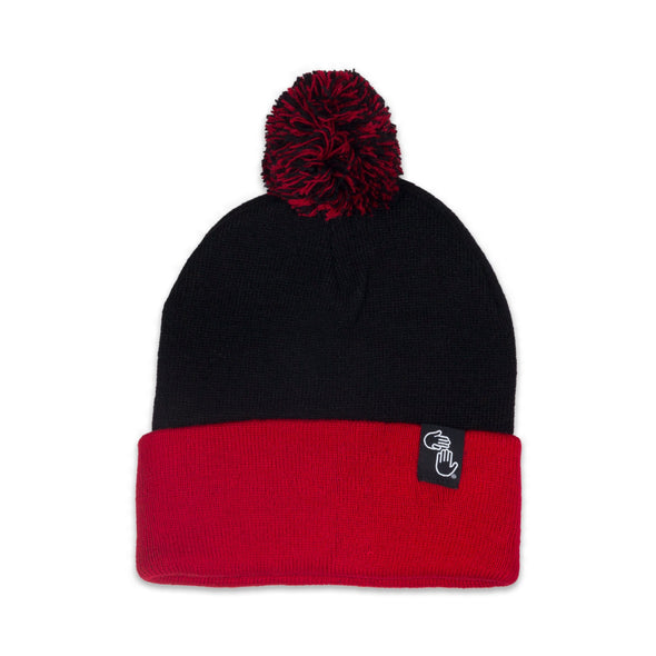 Pom Beanie (Black and Red)