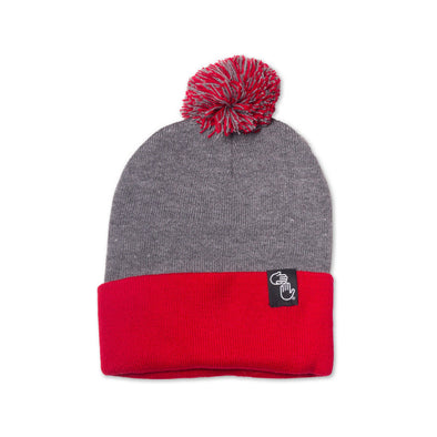 Pom Beanie (Grey and Red)