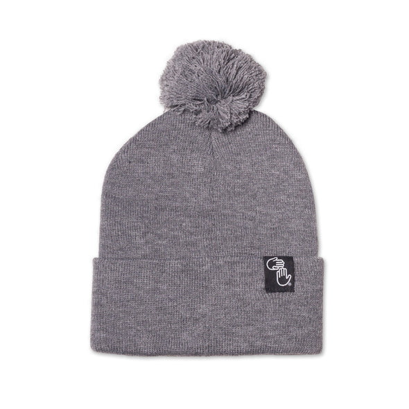 Pom Beanie (Dark Heather Grey)