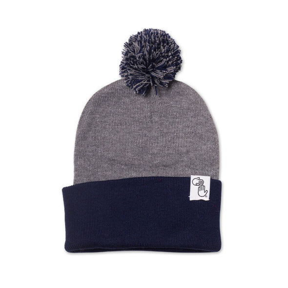 Pom Beanie (Navy and Grey)