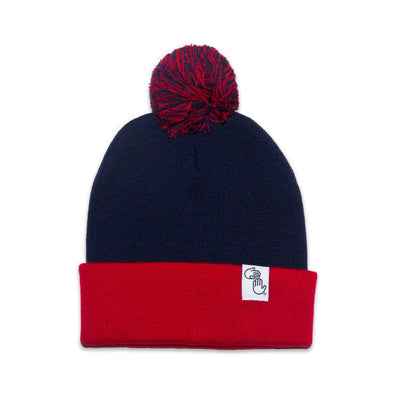 Pom Beanie (Red and Navy)