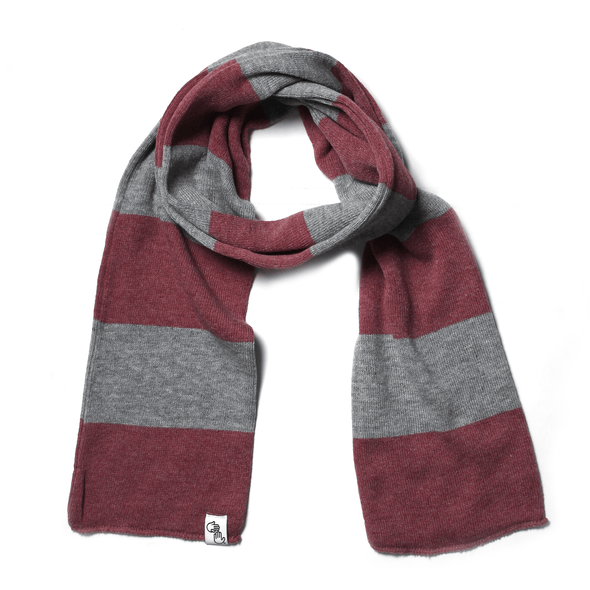Striped Knit Scarf (Heather Red & Grey)