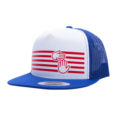 Red, White and Blue Stripes Trucker
