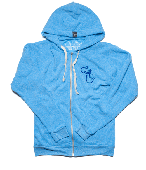 Michigan Hands Vintage Zip Hoodie (Blue)