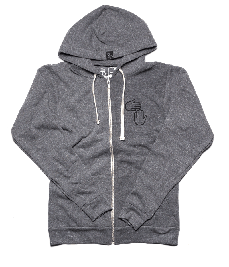 Michigan Hands Vintage Zip Hoodie (Grey)