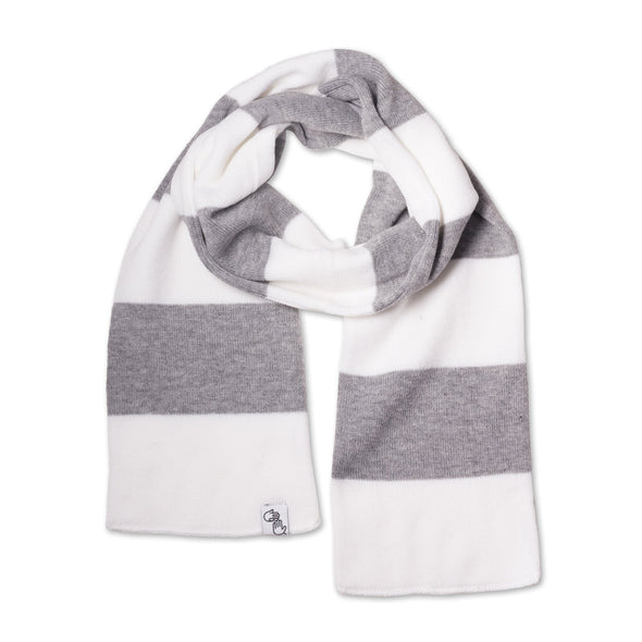 Striped Knit Scarf (White & Grey)