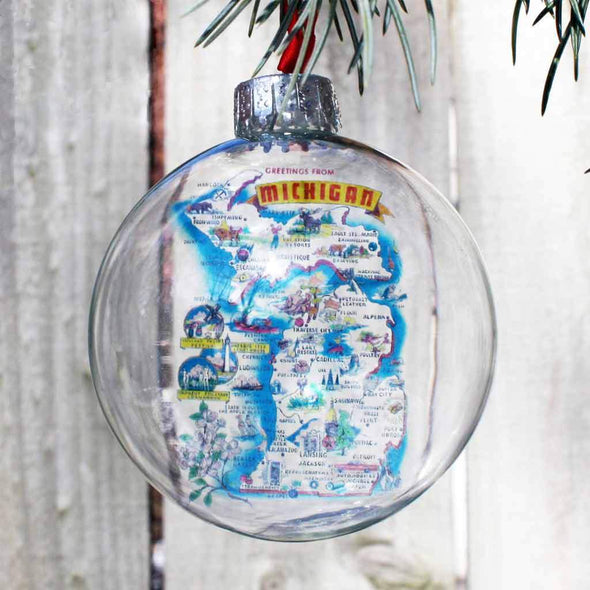 Greetings From Michigan Glass Ornament