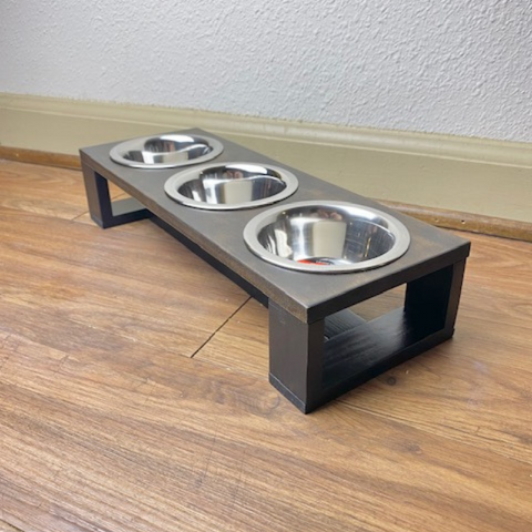 Small Dog Feeder - 3 Bowl | Dachshund, Yorkshire Terrier, Chihuahua | Tiny Dogs