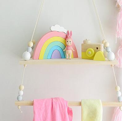 Beaded Wooden Hanging Shelf with Bar