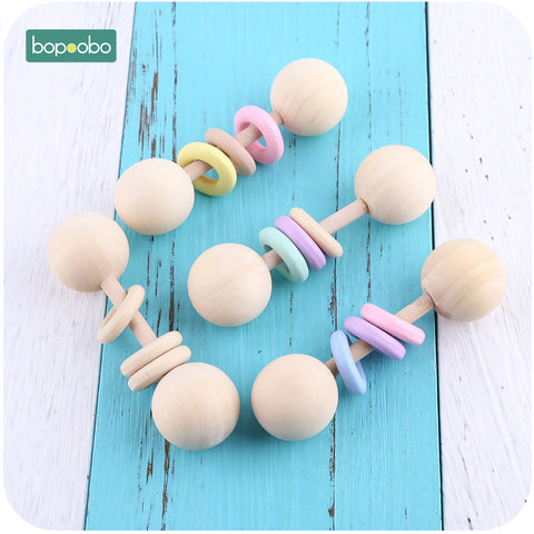 Food Grade Wooden Teether Rattle