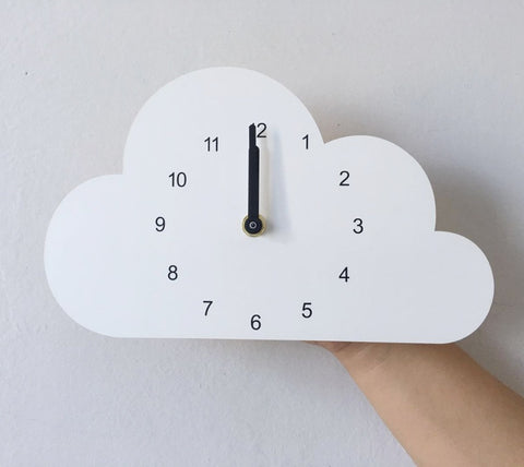 Wooden Rain Cloud Nursery Clock