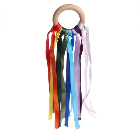 Wooden Ribbon Streamer Teether