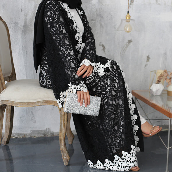 Black & White Lace Abaya - Xarrago
