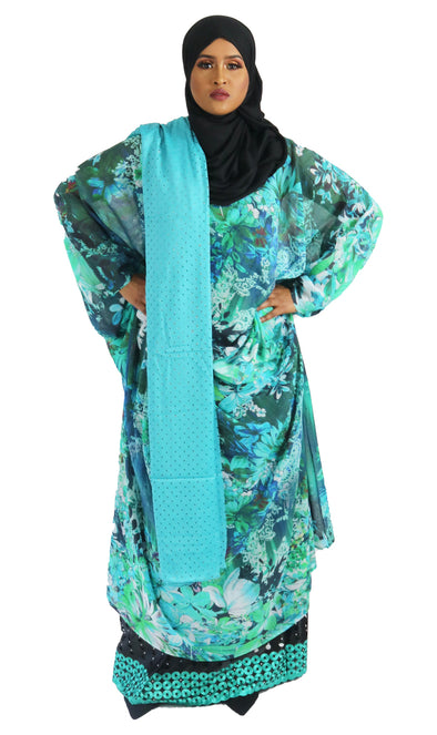 Women's Long Sleeve Water Lily Flowy Dirac Set - Xarrago