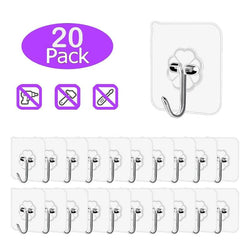 20x Clear Adhesive Wall Hooks