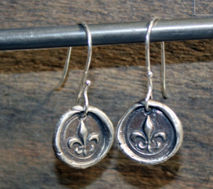 Fleur de Lis Seal Earrings