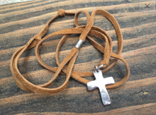 Load image into Gallery viewer, Heavy Sterling Cross and Leather Necklace