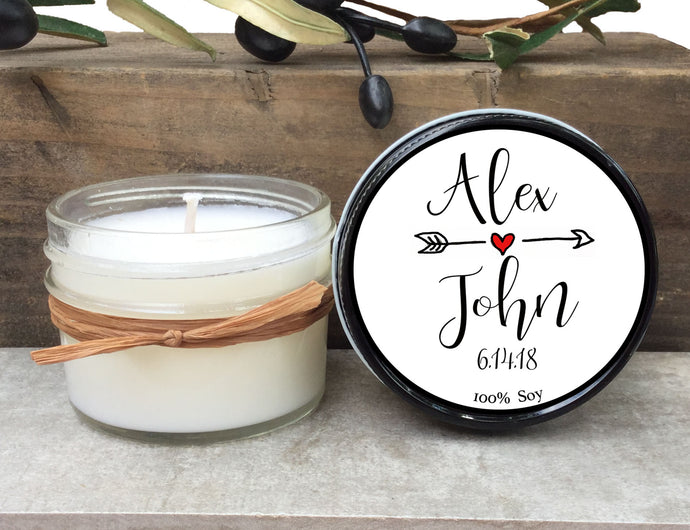 Custom 4 oz Candle Wedding Favor Sets