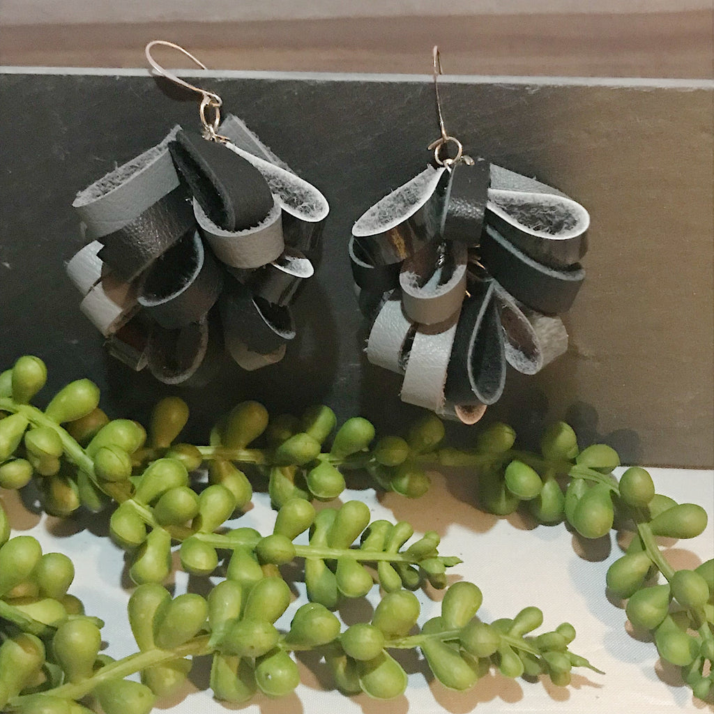 Shades of Grey Leather Petal Earrings