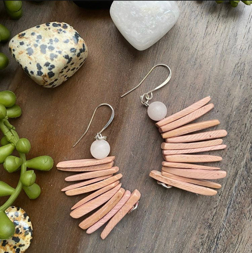 Dusty Pink Cocowood Spike Earrings w/ Rose Quartz Accent