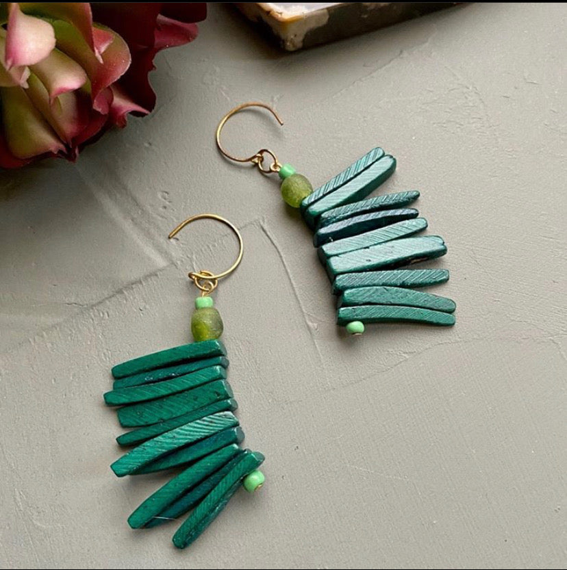 Green Cocowood Spike Earrings w/ African Glass Accent