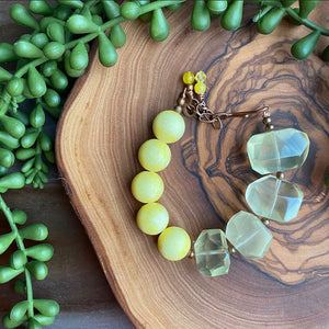 Yellow Mountain Jade & Quartz Hook Bracelet
