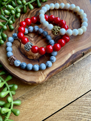 Gemstone Beaded Bracelet w/ Elephant Accent [Series]