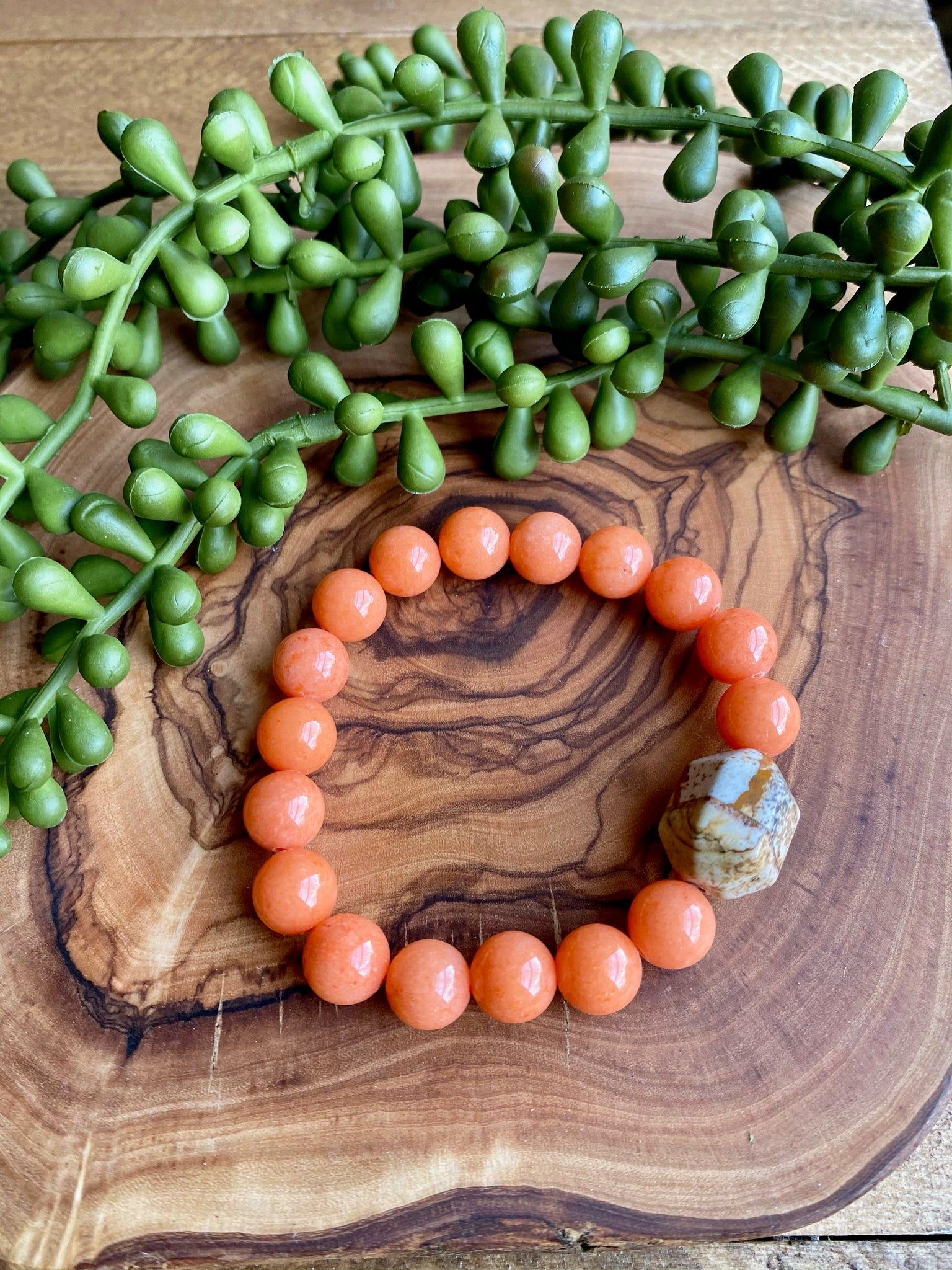 Orange Jade & Picture Jasper Beaded Stretch Bracelet Duo