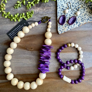 Cream & Purple Statement Necklace