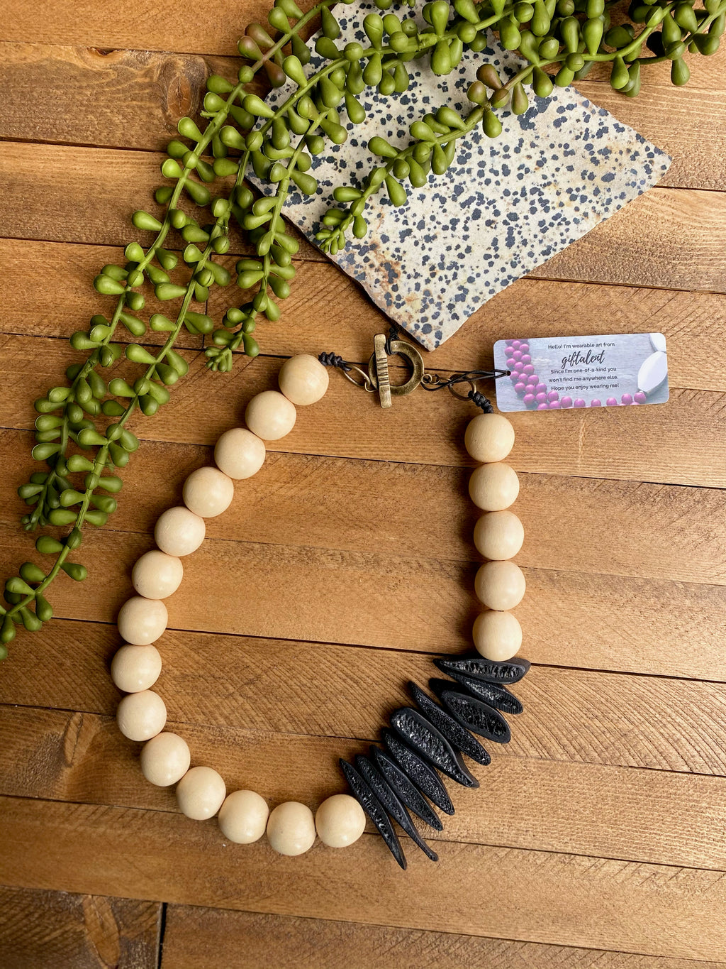 Cream Wood & Black Bone Necklace