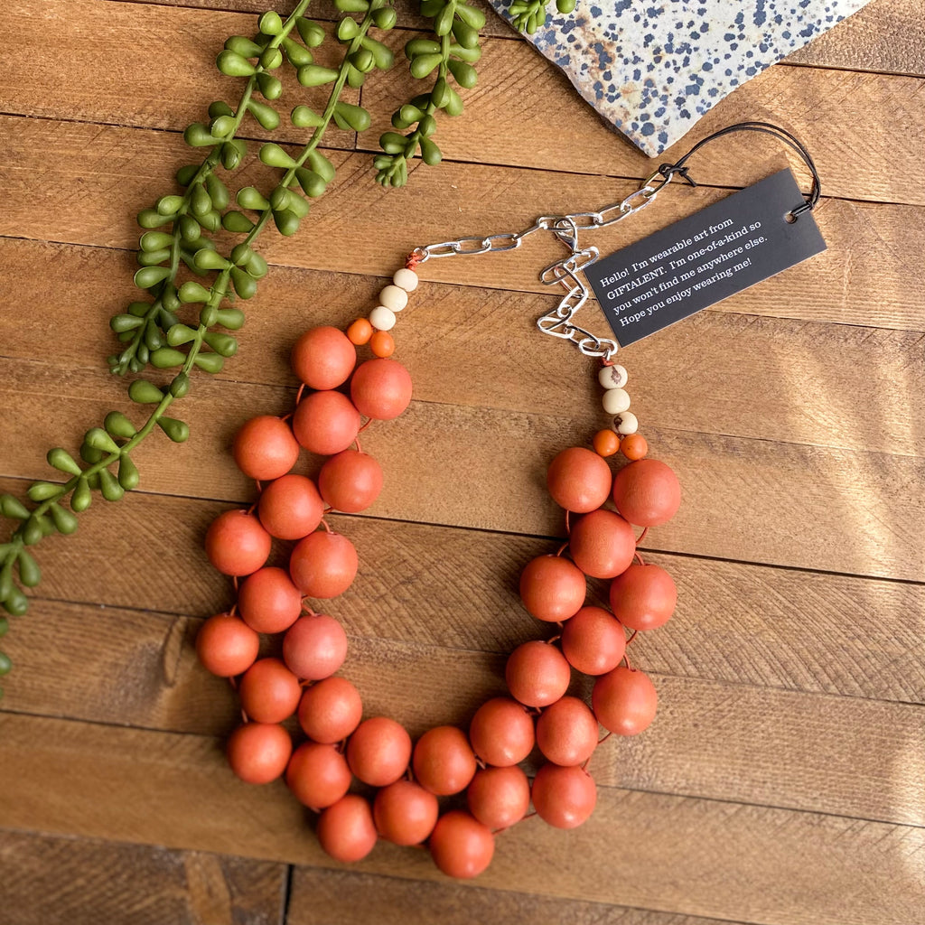 Rust Orange Wood Bib Necklace