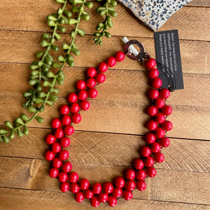 Red Wood Bib Necklace