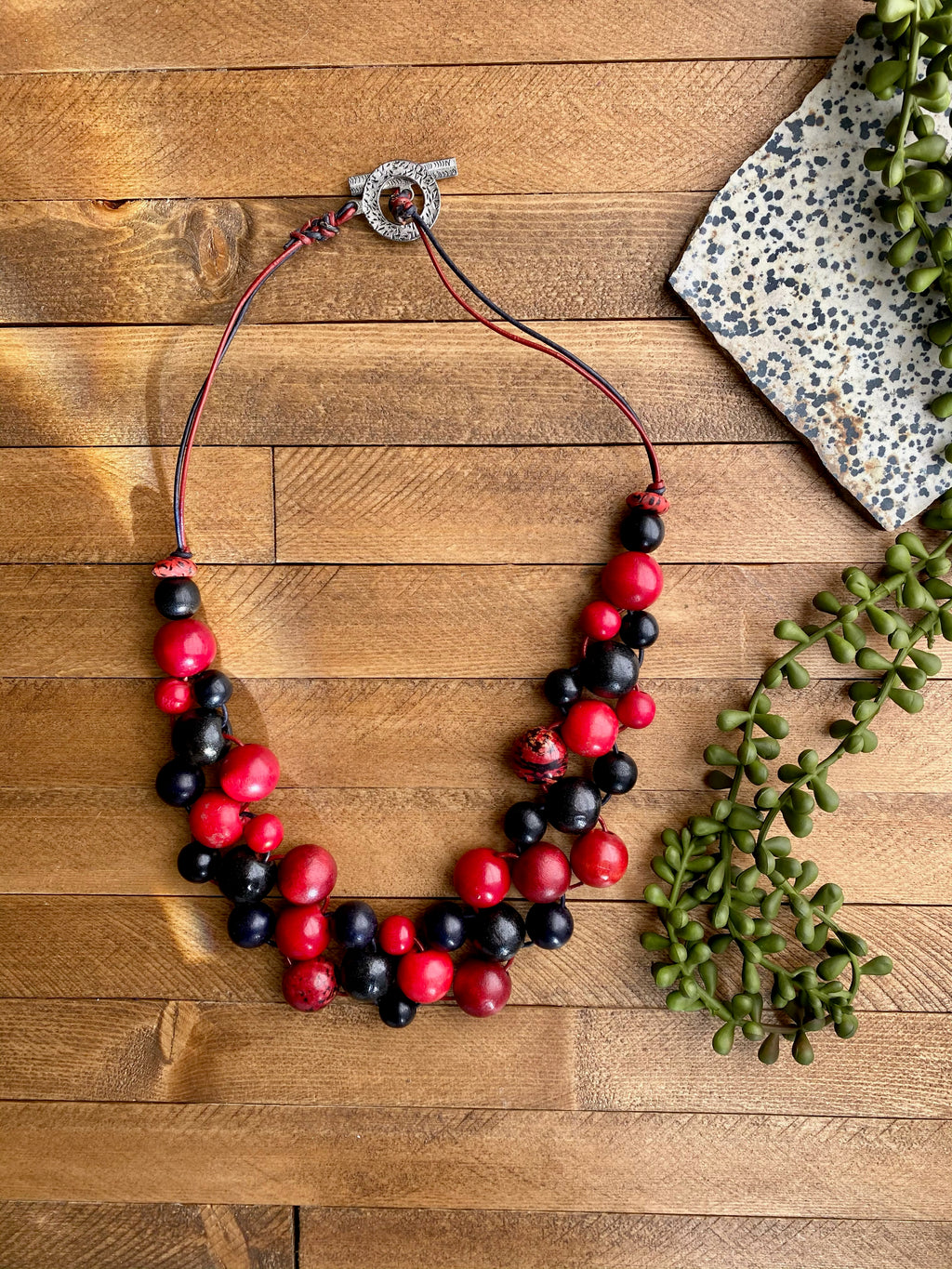 Black & Red Wood & Bombona Bib Necklace