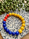 Orange, Yellow & Blue Beaded Stretch Bracelet Duo