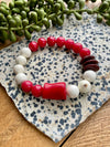 Cream, Red & Brown Beaded Stretch Bracelet