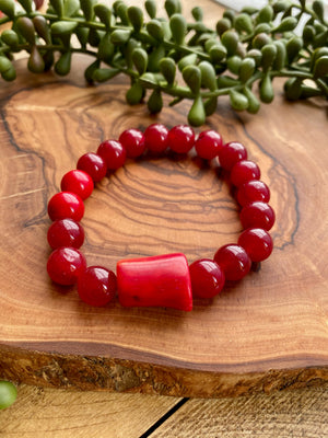 Red Jade Beaded Stretch Bracelet w/ Coral Accent