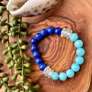 Royal Blue & Sky Blue Beaded Stretch Bracelet w/ African Glass Accents