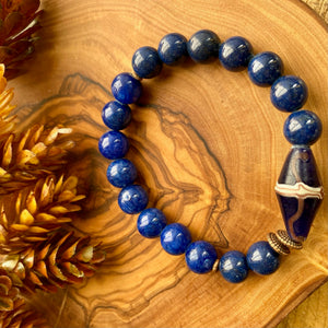 Dark Blue Beaded Stretch Bracelet w/ French Cross Bead