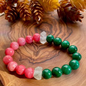 Pink & Green Mountain Jade Beaded Stretch Bracelet